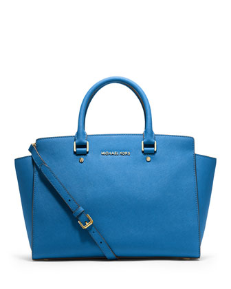 Selma Large Saffiano Satchel Bag, Heritage Blue