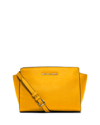 Selma Medium Saffiano Messenger Bag, Sun