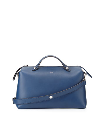 By The Way Small Leather Satchel Bag, Blue Royal