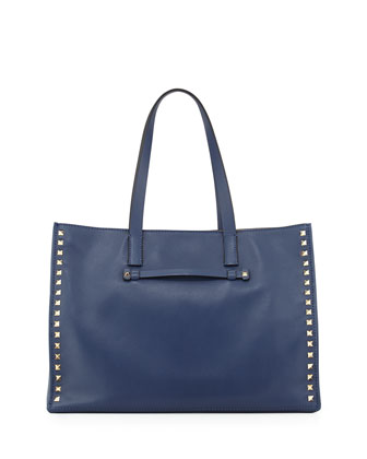 Rockstud Soft Double-Strap Tote Bag, Indigo