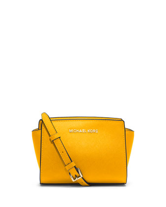 Selma Mini Saffiano Messenger Bag, Sun