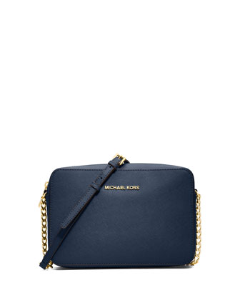 Jet Set Travel Large Saffiano Crossbody Bag, Navy