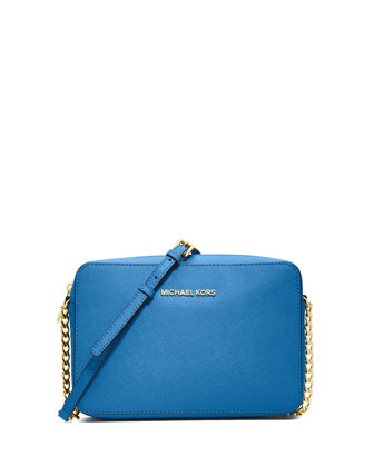 Jet Set Travel Large Saffiano Crossbody Bag, Heritage Blue