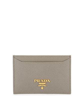 Saffiano Flat Card Holder, Gray (Argilla)