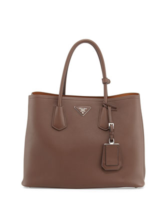City Calf Double Bag, Brown (Cacao)