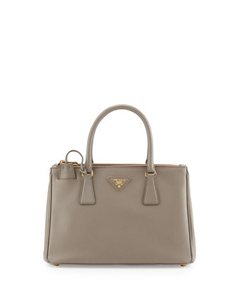 Saffiano Small Double-Handle Tote Bag, Gray (Argilla)