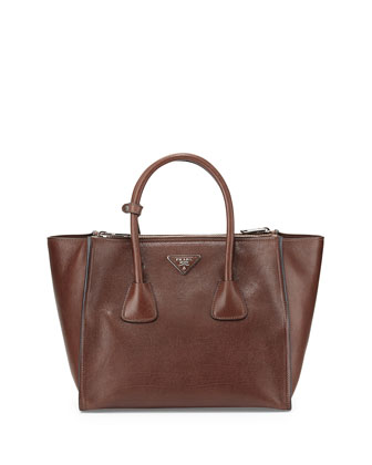 Glace Calf Twin Pocket Tote Bag, Dark Brown (Bruciato)