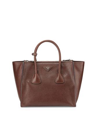 Glace Calf Twin Pocket Tote Bag, Dark Brown (Bruciato)