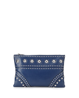 Large Studded Zip Clutch Bag, Blue (Bluette)