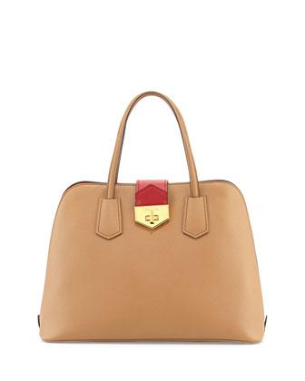 Saffiano Cuir Bicolor Promenade Bag, Caramel/Red (Caramel+Fuoco)