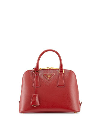 Saffiano Vernice Mini Promenade Bag, Red (Scarlato)
