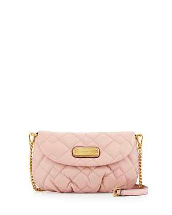 Karlie Quilted Leather Crossbody Bag, Dusty Bloom