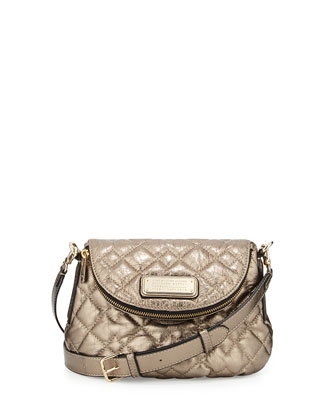 New Q Mini Quilted Natasha Crossbody Bag, Gold