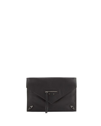 Papier Envelope Zip Clutch Bag, Black