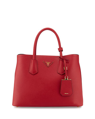 Saffiano Cuir Small Double Tote Bag, Red (Fuoco)