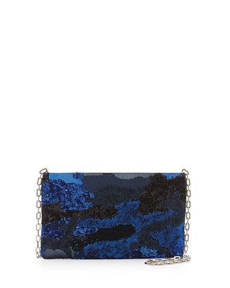 Sequin Camouflage Crossbody Bag, Blue Multi (Bluette)