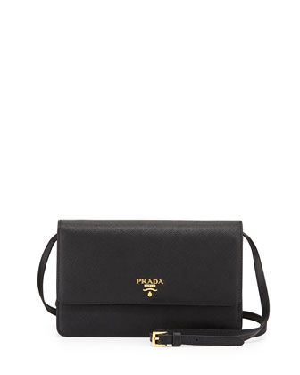 Saffiano Mini Crossbody Bag, Black (Nero)