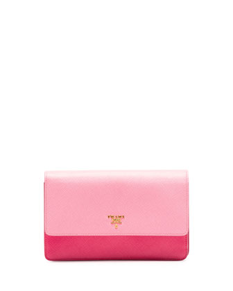 Saffiano Mini Bicolor Crossbody, Pink (Peonia)