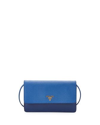 Saffiano Mini Bicolor Crossbody Bag, Dark Blue/Cobalt (Bluette/Azzurro)