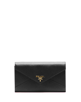 Saffiano Wallet On Strap, Black (Nero)