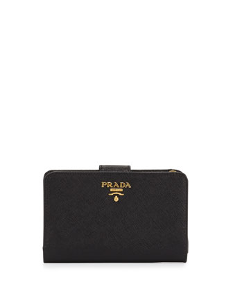 Saffiano Triangle Bi-Fold Tab Wallet, Black (Nero)