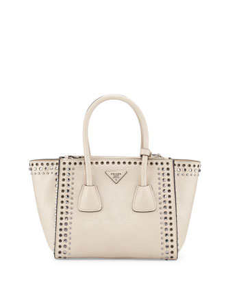 Glace Calf Twin Pocket Tote Bag w/Studs, White (Quarzo)