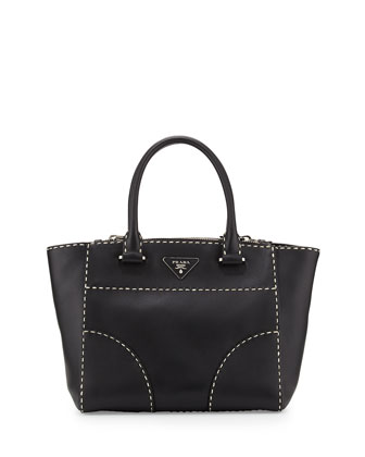 City Calf Small Twin-Pocket Tote Bag, Black/White (Nero)