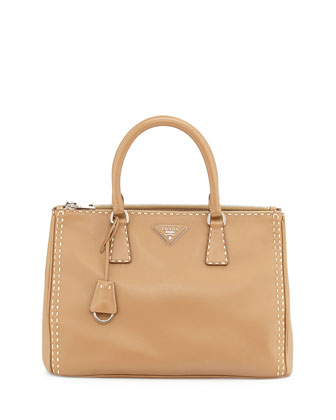 City Calf Double-Zip Executive Tote Bag, Camel/White (Caramel/Bianco)