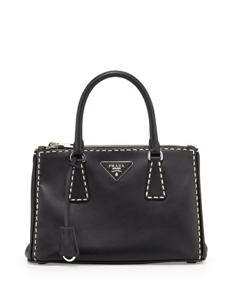 City Mini Galleria Tote Bag, Black/White (Nero)