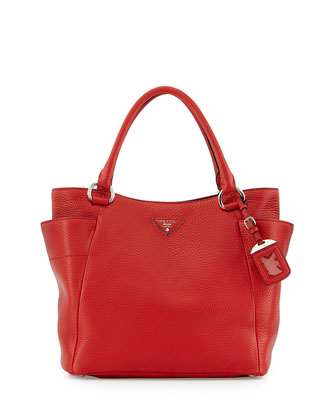 Daino Side-Pocket Tote Bag, Red (Rosso)