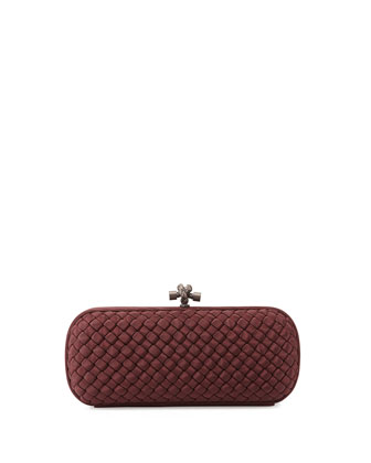 Woven Faille Large Knot Clutch Bag, Aubergine