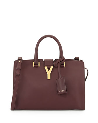 Y-Ligne Cabas Mini Leather Bag, Bordeaux
