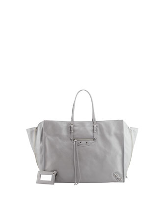 Papier A4 Side Zip Tote Bag, Gris Metal