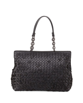 Woven Double-Compartment Shoulder Bag, Black