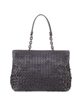 Woven Double-Compartment Shoulder Bag, Dark Gray