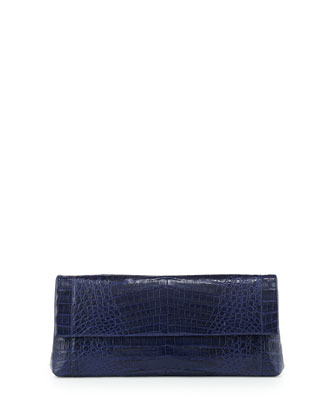 Gotham Crocodile Flap Clutch Bag, Navy