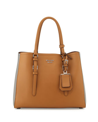 City Calfskin Bicolor Tote Bag, Camel/Dark Gray (Canella + Marmo)