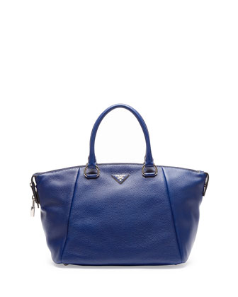 Vitello Daino Satchel Bag, Navy (Inchiostro)