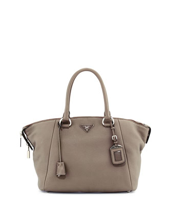 Vitello Daino Satchel Bag, Light Gray (Argilla)