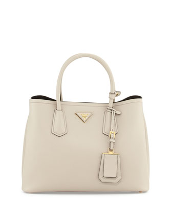 Saffiano Cuir Small Double Bag, Light Gray (Pomice)