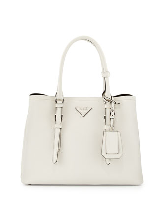 Saffiano Cuir Covered-Strap Double Bag, White (Talco)