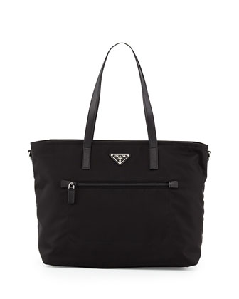 Vela Zip-Front Tote Bag, Black (Nero)