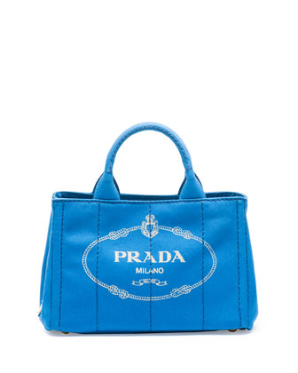 Canvas Mini Logo Tote with Strap, Cobalt Blue (Azzuro)