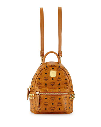 Stark Visetos Mini Backpack, Cognac