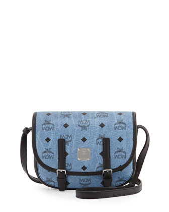 Color Visetos Crossbody Flap Messenger Bag, Denim