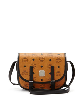 Color Visetos Crossbody Flap Messenger, Cognac