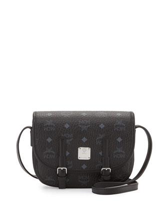 Color Visetos Crossbody Flap Messenger Bag, Black