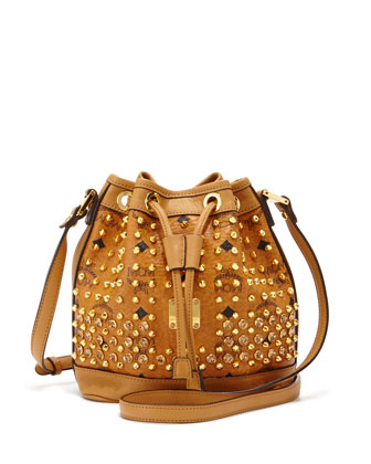 Studded Visetos Mini Bucket Bag, Cognac