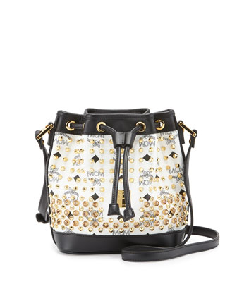 Diamond-Print Visetos Drawstring Bag, White