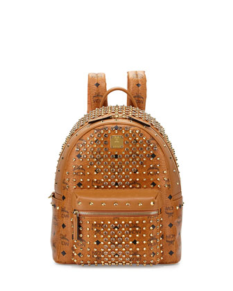 Diamond Visetos Small Backpack, Cognac